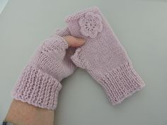 82f3014072f Knitted Fingerless Mitts with Alpaca Pale Pink £9.00. Folksy