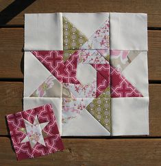 Block made by Cut to Pieces for the Pretty in Pink Bee. Hanging onto the picture until I can find the pattern.