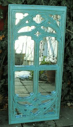 Teal Window Frame Mirror by cassedywooddesigns on Etsy, $68.00