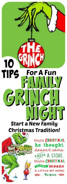 Get your Grinch on! Ready to start a new Christmas Family Tradition? Check out these 10 tips for a fun family Grinch Movie Night! Grinch Party, Le Grinch, Grinch Christmas Party, Noel Christmas, Grinch Stuff, Christmas Parties, Family Christmas Party Games, Christmas Letters, Ideas For Christmas Party