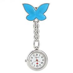 Fob Watch,SEARCHALL Luxury Cute Fashion Infection Control Health Care Nurse Lapel Pin Watch Hanging Medical Doctor Pocket Watch Quartz Movement Nurses Watch Wrist Watch for Women Girls Blue Butterfly