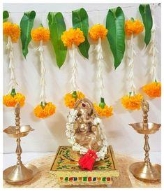 Mandir Decoration, Ganpati Decoration At Home, Diwali Decorations At Home, Ganapati Decoration, Indian Wedding Decorations, Festival Decorations, Flower Decorations, Cradle Decoration, Leaf Decoration