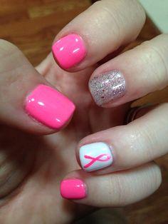 breast cancer shallac nails!