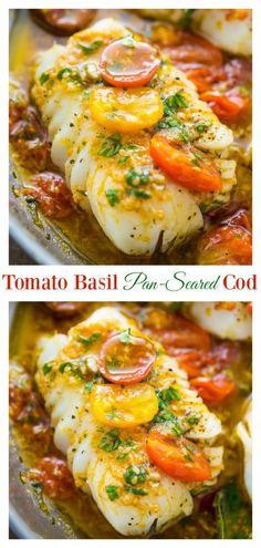 A quick and easy recipe for Pan-Seared Cod in White Wine Tomato Basil Sauce! If you love cod recipes, try this flavorful dish for dinner tonight! Pan-Seared Cod in White Wine Tomato Basil Sauce - Baker by Nature Pam Stretch pstretch Paleo A quick a Cod Fish Recipes, Seafood Recipes, Vegetarian Recipes, Cooking Recipes, Healthy Recipes, Baked Cod Recipes, Fish Sauce Recipes, Veggie Pizza Recipes, Healthy White Fish Recipes