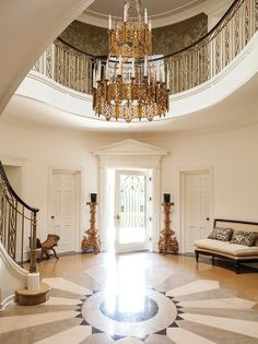It looks like a marble floor with a medallion centerpiece.  Beautiful!