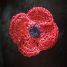 Crochet Poppies Pattern OK so we were asked to do a few poppies, most of the ones I have seen are basically round with a hint of petal, I have done two versions one with four petals and one simpler round one both are Crochet Small Flower, Crochet Butterfly, Cute Crochet, Crochet Crafts, Crochet Flowers, Knit Crochet, Crochet Poppy Pattern, Crochet Flower Patterns, Flower Applique