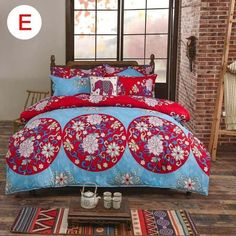 4pcs/set Bohemian Bedding Set Floral Printed Bed Linens Twin Size Duvet Cover Flat Sheet Pillow Case E2S