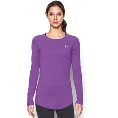 Under Armour Women's UA Sunblock 50 Long Sleeve ($50) ❤ liked on Polyvore featuring activewear, activewear tops, mega magenta, under armour sportswear and under armour