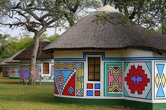 ndebele print outfits ~ ndebele print outfits + ndebele print outfits for men Cultural Architecture, Vernacular Architecture, African Hut, Out Of Africa, African Culture, Traditional House, Belle Photo, Bunt, South Africa
