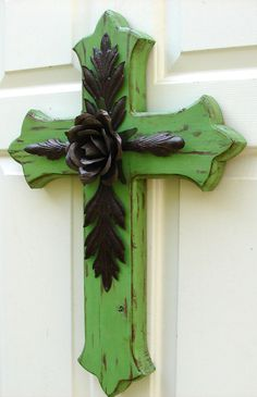 DC031A Large Green Wood Cross with Rustic Rose and Leaves. $85.00, via Etsy.