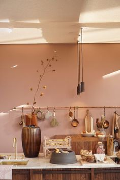 Dusty blush pink interior design inspiration and ideas. Room Inspiration, Interior Inspiration, Design Inspiration, Bedroom Wall Colors, Beautiful Interiors, Home Living Room, Kitchen Interior, Red Gold, Home Kitchens