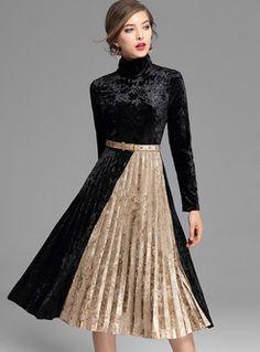 Vintage Color-blocked High Waist Pleat Skater Dress