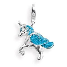 Fantasy Charm, Pegasus aus Silber mit Brandlack & Karabiner.