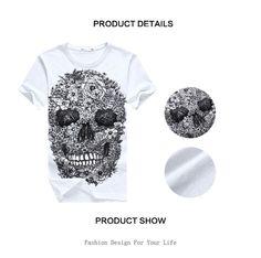 Бесплатная доставка мужские футболки мода 2015 череп 3d майка мужчин хип хоп мужчин футболка свободного покроя фитнес скейт добычу marcelo burlon купить на AliExpress