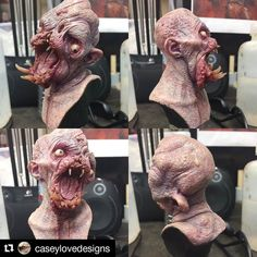 #Repost from one of our teachers monster maker Casey Love aka @caseylovedesigns Mutation mini bust for sale. This little sick mutant is looking for a good home so he can drool all over your work desk or coffee table he loves to eat pets and he even leaks puss out of his disgusting head... yummy! By him now for $200 shipped. Message me or email at casey@caseylovestudio.com #caseylove #caseylovestudio #caseyloveart #mutant #mutationman #monsters #creatures #drool #drooling #puss #pusshead…