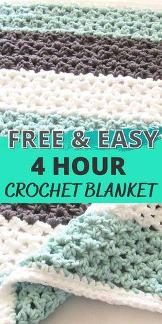 Quick Crochet Blanket, Crochet Baby Blanket Free Pattern, Afghan Crochet Patterns, Crochet Throws, Crocheted Afghans, Crochet Edges For Blankets, Bernat Blanket Patterns, Crotchet Patterns, Chunky Blanket