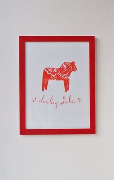 Dala horse tattoo — all red ink. Swedish Christmas, Christmas Art, White Christmas, Swedish Tattoo, Red Ink Tattoos, Horse Print, Picture Wall, Scandinavian Design, Design Projects