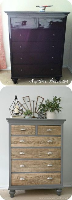 Dresser Makeover with Upcycled Grey Painted Outer Fram. #shabbychicdressersgrey