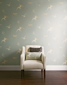 love the idea of wallpaper from the era the home was built- Sanderson Bird Vintage wallpaper - wouldn't this be lovely in a home by the sea? Romantic Wallpaper, Interior, Grey Wallpaper, Home Decor, Retro Renovation, Vintage Wallpaper, Designer Wallpaper, Interior Design, Wall Coverings