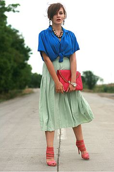 love this colour combo; blue, coral and mint green