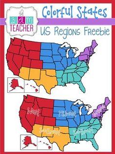 FREE US REGIONS Clipart by The 3AM Teacher The 3AM Teacher