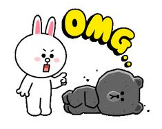 LINE Official Stickers - Brown & Cony Heart Melting Romance Example with GIF Animation Cute Couple Cartoon, Cute Love Cartoons, Cute Couple Art, Cute Love Gif, Cute Cat Gif, Emoji Wallpaper, Love Wallpaper, Gifs Lindos, Bear Gif