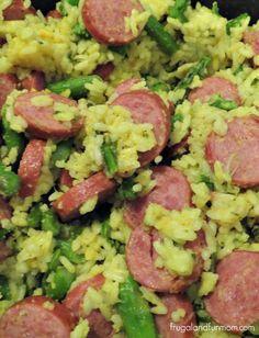 Sausage, Asparagus, and Yellow Rice Recipe! #Dinner #Rice #Recipe #Easy #Sausage