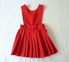 Vintage red girls pleated school girl jumper, 3T from LazerBaby Vintage, $12.00