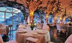 Indoor/outdoor, dining at Le Sirenuse Hotel in Positano
