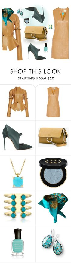 """Spring Leather!"" by flippintickledinc ❤ liked on Polyvore featuring Loewe, By Malene Birger, Casadei, Chloé, David Yurman, Gucci, Hermès, Deborah Lippmann and Ippolita"