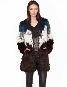 Faux fur coat in blue, white and black -- yes!