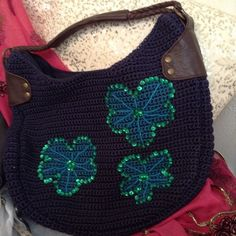 """The Sak  Navy Blue Shoulder Bag, New This Is TheCutestSak Hand Or Shoulder Bag It's Like New And Is A Gorgeous Dark Navy Color And The Sequins Are Hand Sen On and Are A Gorgeous Green, It Is A BeautifulBag! The Shoulder Strap Is 11"""" When Holding Up And In A Slouch Position, Very Comfortable AndLog Enough ForThe Shoulder And Has Nice Thick Genuine Brown Leather Straps In Unworn Condition, Very Well add  And The Sak Dangle Charm !ThanksSale Sak Bags Shoulder Bags"""