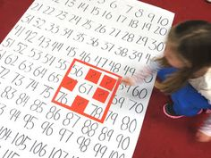 Math activity working with a large hundreds chart. It gets the kids physically involved in learning how numbers work together. Math Classroom, Kindergarten Math, Teaching Math, Teaching Ideas, Preschool, Math For Kids, Fun Math, Math Stations, Math Centers