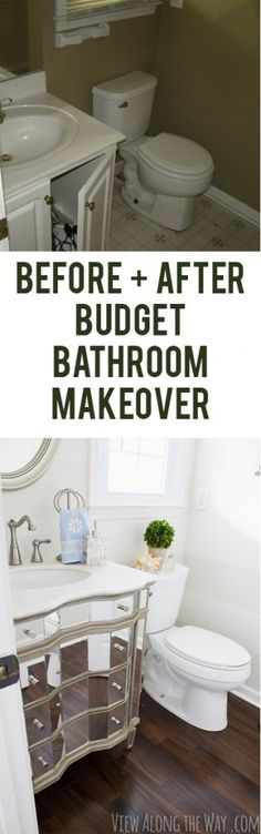Beautiful half-bath makeover on a tiny budget at www.viewalongtheway.com.