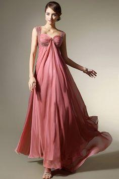 Empire Blush Pink Chiffon Evening Dress  #Long Evening Dress#