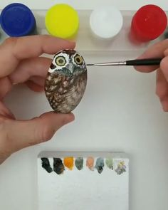 Stone Art Owl drawn on a stoneOwl drawn on a stone Rock Painting Patterns, Rock Painting Ideas Easy, Rock Painting Designs, Simple Acrylic Paintings, Acrylic Painting Techniques, Acrylic Art, Painting Process, Stone Art Painting, Pebble Painting