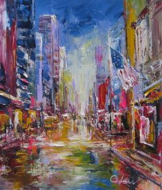 "LEW GREEN-New York 5TH Ave At NIGHT 20""x24"""