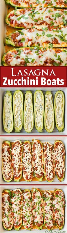 Cut the carbs with this healthy, vegetable-rich, gluten-free lasagna zucchini recipe! Now you have a great use for those huge zucchinis from your garden - for long, cheesy lasagna zucchini boats (though you can use zucchini of any size.) | Cooking Classy