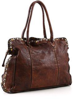 Campomaggi Lavata Tote Leather cognac 38 cm - C1296VL-1702 - Designer Bags Shop - wardow.com