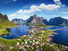 REINE, NORWAY Reine, located in the Lofoten archipelago of Norway, is a small fishing village where you'll find stunning scenery and beaches. Enjoy the long days and the Midnight Sun or the short days and the incredible  Northern Lights