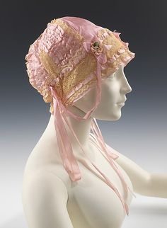 Boudoir Cap, ca. 1917. Lingerie was free to maintain a dainty femininity suitable to the bedroom, as can be seen in this charming boudoir cap.