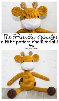 Free Crochet Pattern- The Friendly Giraffe Toy. Two sizes included!!