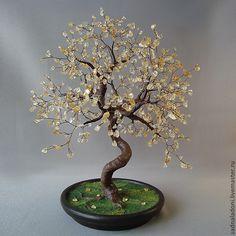Купить Дерево из натурального цитрина - желтый, натуральный цитрин, Дерево счастья, для дома и интерьера