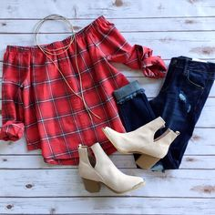 || She's So Plaid Long Sleeve || + || Nashville Nights Booties || Shop this look online!