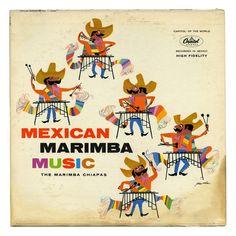 Mexican Marimba Music by The Marimba Chiapas LP cover, Capitol, 1960s.