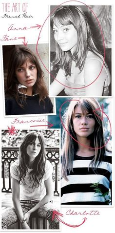 I was thinking lately about the hairdos I envy, and want to copy the most, and how they usually are on the heads of French women. I started gathering images of my favorites, of course Anna Karina, Jane Birkin, Francoise Hardy, and Charlotte Gainsbourg…and all of sudden it came together, like the reveal of a good mystery. All of these woman have very similar hairdos, coincidence or just French genes? For me, it's that no-fuss, barely styled, long hair with side swept bangs, and just the ...