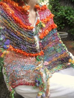 rustic handknit gypsy rainbow boho art yarn scarf wrap from the forest -  gypsy patchwork summer traveller