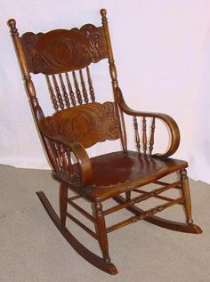 Vintage Solid Wood Rocker Rocking Chair Made In