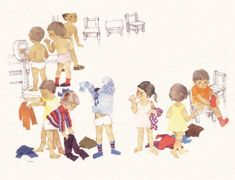 Written by Tetsuko Kuroyanagi, an eminent social worker,Totto-chan was originally published in Ja Japanese Watercolor, Kids Watercolor, Graphics Fairy, Norman Rockwell, Book Illustration, Watercolor Illustration, Art Optical, Sand Art, Japanese Artists