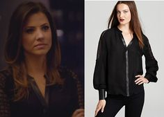 Dallas Season 2: Rebecca's (Julie Gonzalo) Black Lace Blouse by Madison Marcus #getthelook #dallas